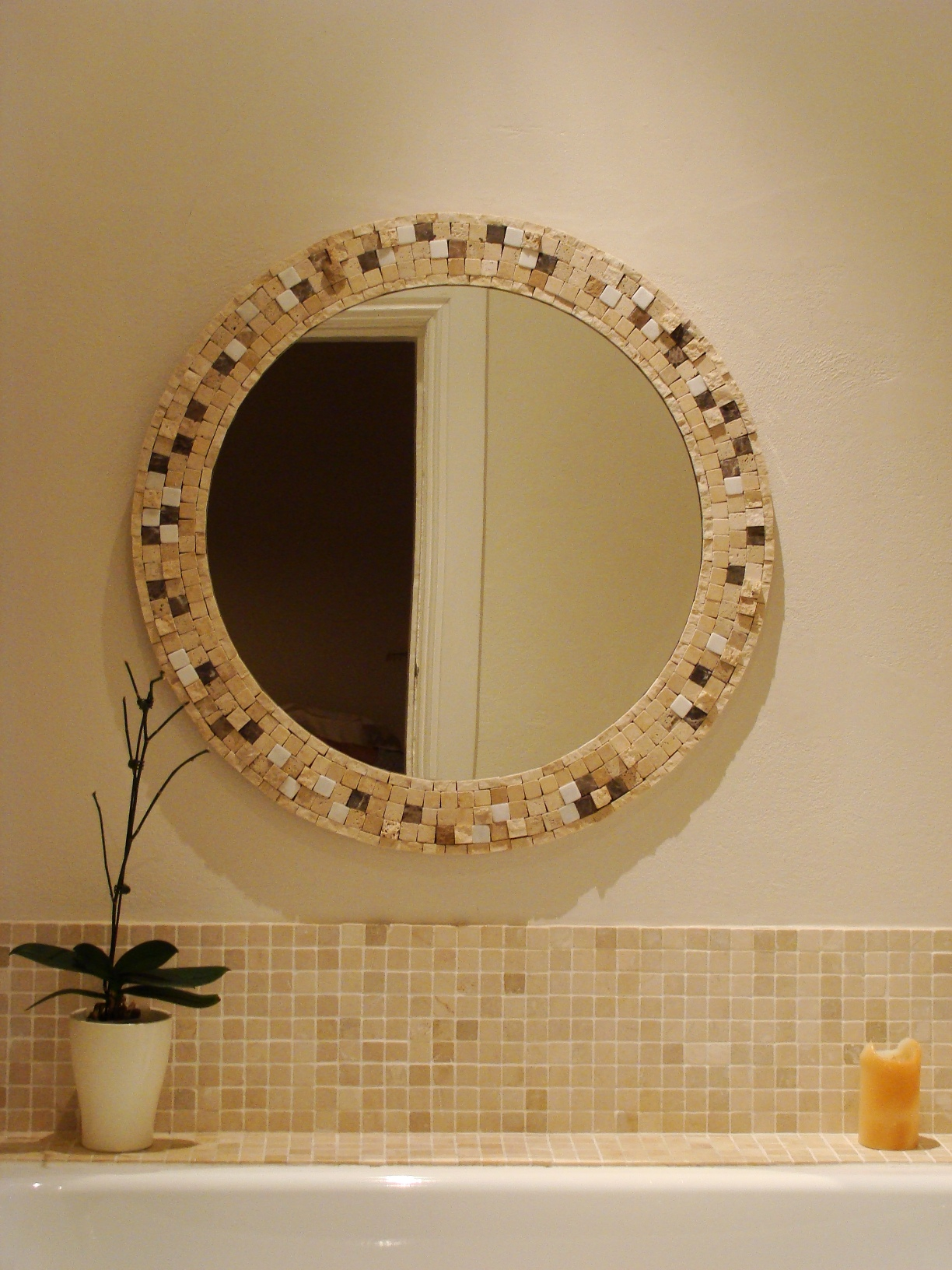 Beautiful Earthtone Mosaic Arch  Bathroom Mirror  Bathroom Mirrors  Pinterest