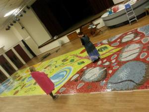 Mosaic mural laid out
