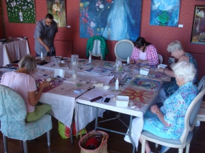Mosaic beginner class students