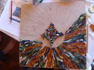 Mosaic project using glass