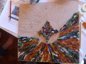 Mosaic project using glass